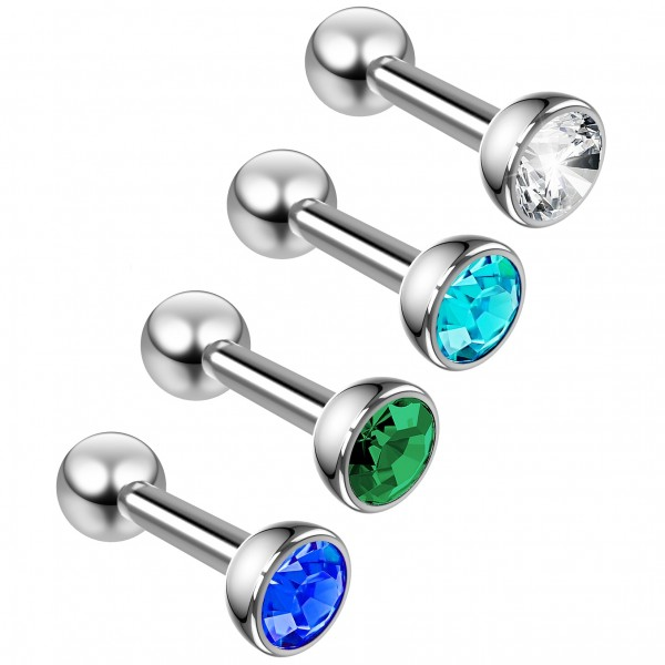 4pc 16g Cubic Zirconia Stud Earring Piercing Jewelry Surgical Stainless Steel Tragus Cartilage Helix