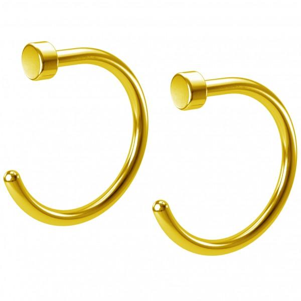2pc 20g Nose Hoop Gold Stainless Steel Hypoallergenic Nostril Rings Flat Twist Nasal Piercing 8mm