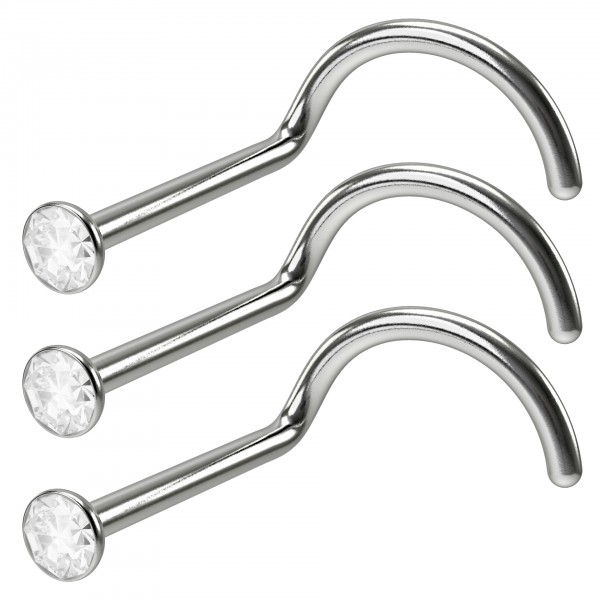 3pc 18g Stainless Steel CZ Nose Screw Corskscrew Nostril Stud Piercing Hoop Clear Crystal