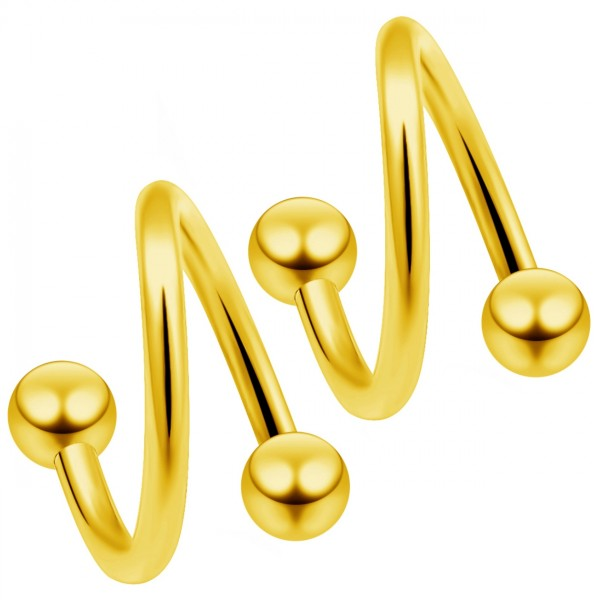 2 16g Gold Twisted Barbell Spiral Twist Daith Helix Tragus Cartilage Piercing Twister Earring 10mm