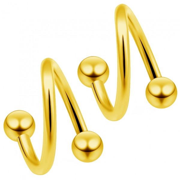 2 16g Gold Twisted Barbell Spiral Twist Daith Helix Tragus Cartilage Piercing Twister Earring 8mm