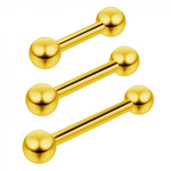 3pc 16g Gold Barbell Cartilage Earrings Anti-Tragus Forward Helix Eyebrow 6mm 1/4 8mm 5/16 10mm 3/8