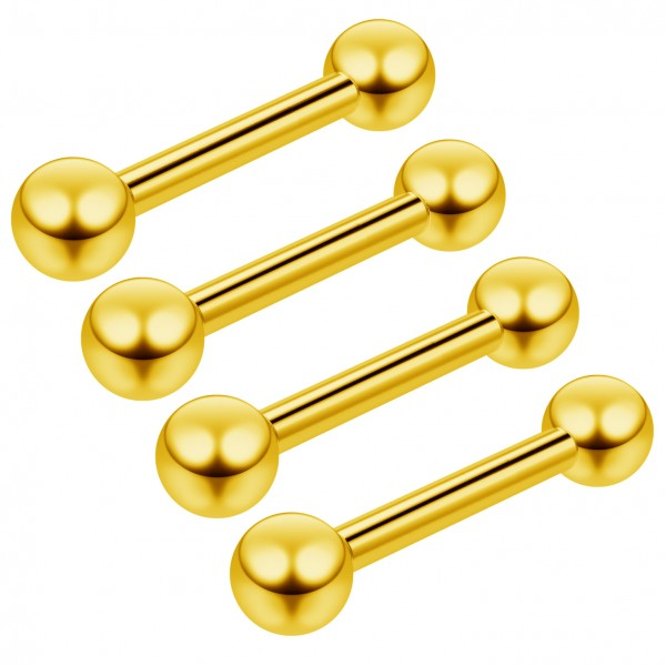 4pc 16g Earing Barbell Stud Earrings Gold Anodized Cartilage Triple Forward Helix 8mm Anti Tragus
