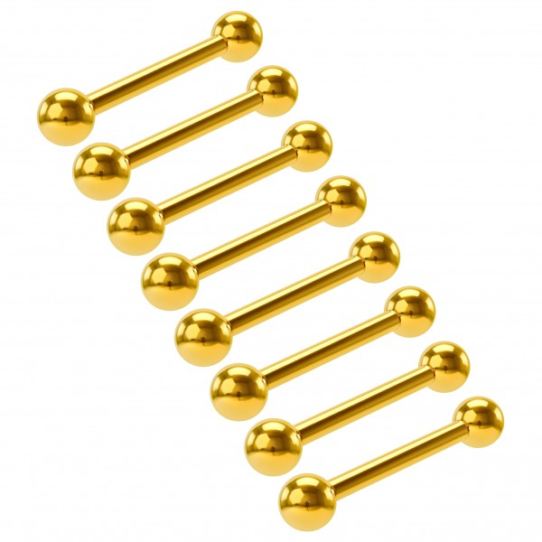 8pc Lot 16g Barbell Earrings Cartilage Anti Tragus Forward Helix Eyebrow Gold Anodized 3mm Balls Set
