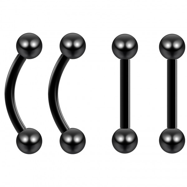 4pc 16g Black Cartilage Earring Barbell Lobe Triple Forward Helix Tragus Auricle Stainless Steel 6mm