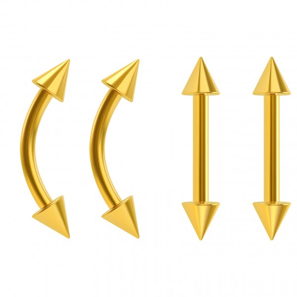 4pc 16g Gold Tragus Barbells Curved Gauge Earring Women Studs Nipplerings Spike Piercing Jewelry 8mm