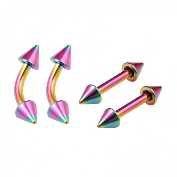4pc 16g Rainbow Cute Triple Forward Helix Earrings For Women Men Curved Bar Rook Rim Piercing 6mm