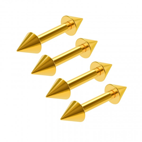 4pc 16g Straight Barbell Gold Anodized Bars Stud Vertical Tragus Triple Forward Helix Cartilage 6mm