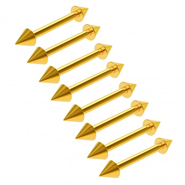8pc 16g Gauge Surgical Steel Eyebrow Lip Bars Tragus Straight Barbell Gold Lot Piercing 3/8 10mm
