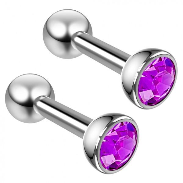 2pc 16g Amethyst crystal CZ Stud Earrings For Woman Gemstone Triple Forward Helix Tragus Cartilage