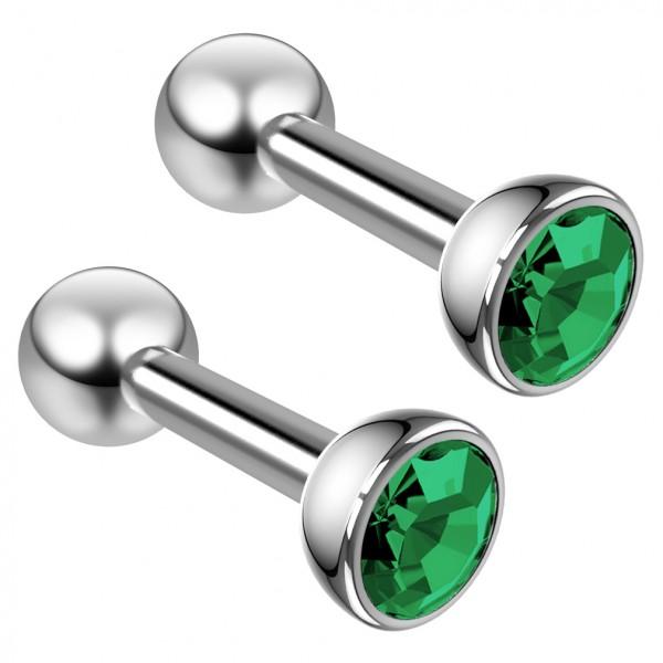 2pc 16g Blue Zircon crystal CZ Stud Earring Piercing Jewelry Triple Forward Helix Tragus Cartilage