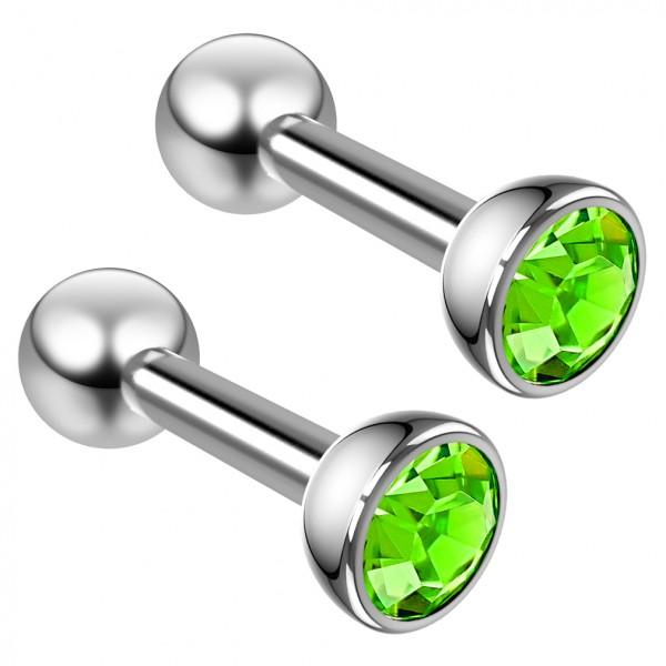 2pc 16g Peridot crystal CZ Studs Earrings Piercing Jewelry Triple Forward Helix Tragus Cartilage