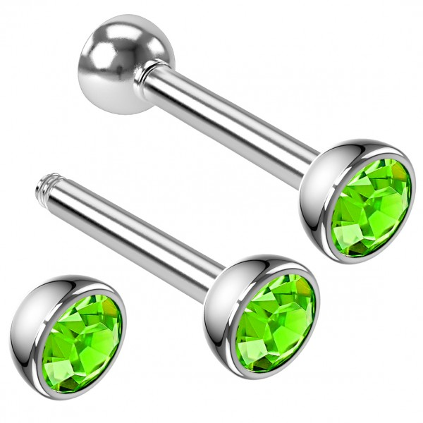 2pcs 16g Barbell Earrings Cartilage Anti Tragus Helix Eyebrow Anodized Peridot Crystal Halfball 8mm
