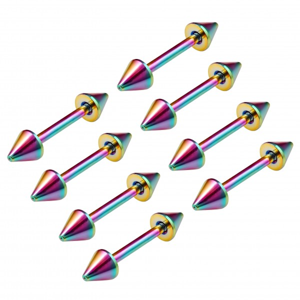 8pc 16g Gauge Surgical Steel Eyebrow Lip Bars Tragus Straight Barbell Rainbow Spike Piercing Jewelry