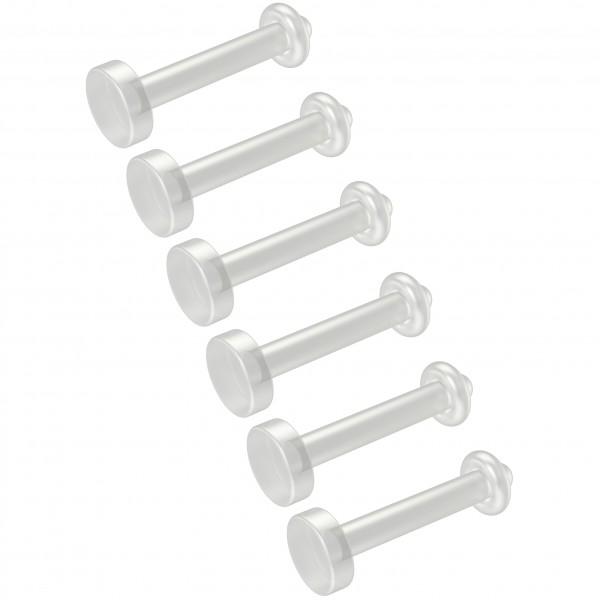 6pc 16g Labret Retainer Bioplast 6mm Clear Plastic Studs Flexible Bioplast Mole Piercing Jewelry