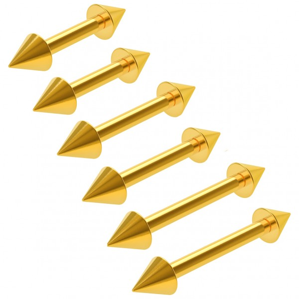 6pc 16g Gold Barbell Cartilage Earrings Spike Tragus Forward Helix Eyebrow 6mm 1/4 8mm 5/16 10mm 3/8