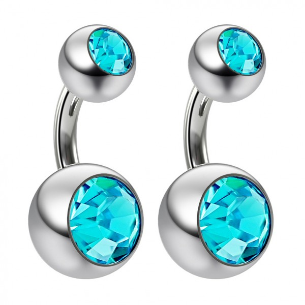 2pc 14g Crystal Aqua Blue Gem Double Belly Button Ring Navel Short 6mm Shallow Piercings