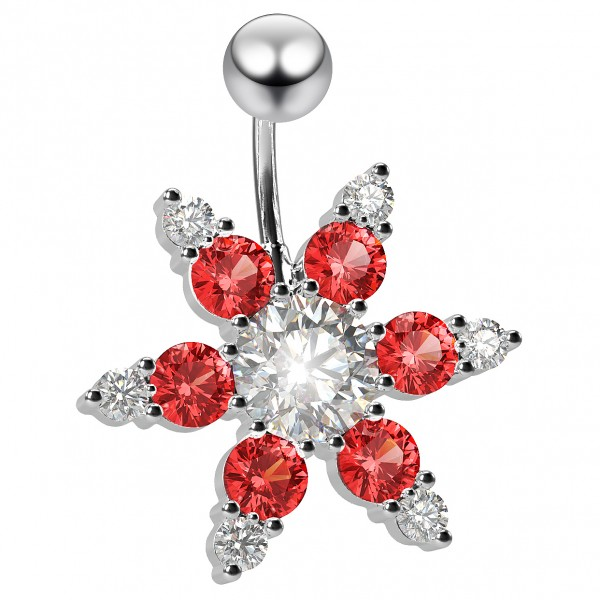 14g crystal Belly Button Ring CZ Cubic Zirconia Red Gem Crystal Jewel 6mm Short - Clear Retainer