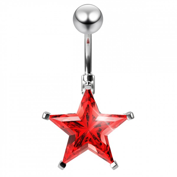 14g Star Belly Ring Red CZ crystal Navel Surgical Stainless Steel Hypoallergenic For Women 10mm