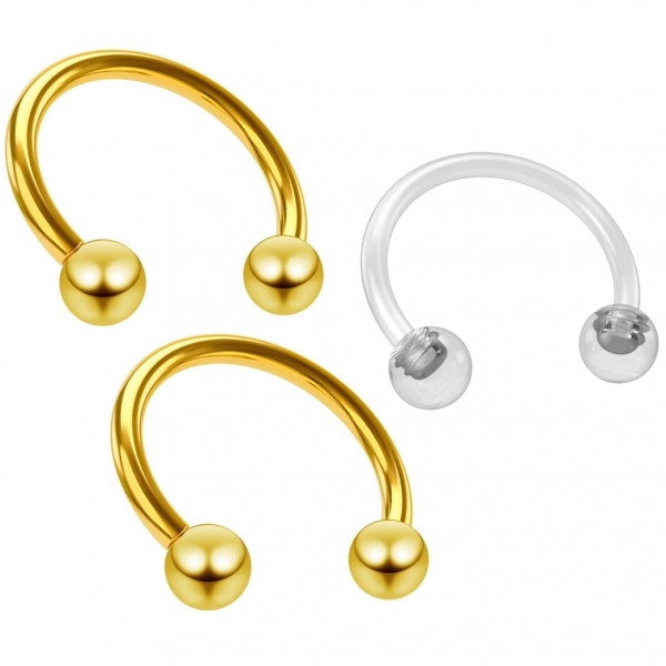 2pc 18g Stainless Steel Horseshoe Earrings Barbell Cartilage Daith Tragus 8mm Gold - Clear Retainer