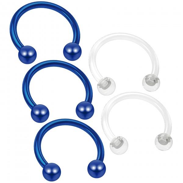 3pc 16g Blue Horseshoe Earring Circular Barbell 10mm Septum Nipple Piercing - 2pc Clear Retainer