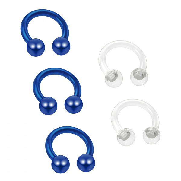 3pc 16g Blue Horseshoe Earrings Circular Barbell 6mm 1/4 Helix Tragus Piercing - 2pc Clear Retainer