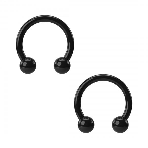 2pc 16g 8mm 5/16 Black Acrylic Circular Barbell Horseshoe Earrings Tragus Hoop Helix Daith Piercing