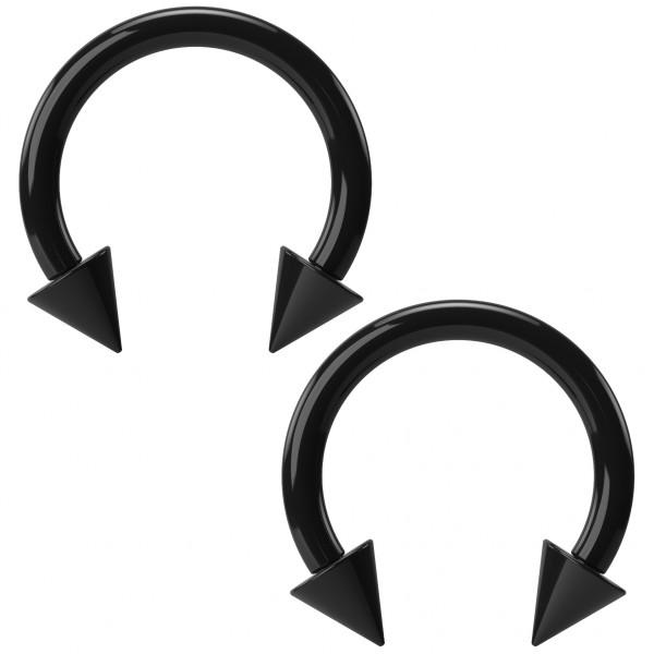 2pc 16g Acrylic Black Circular Barbell Horseshoe Earrings Daith Tragus Gauges Cartilage Lip Piercing