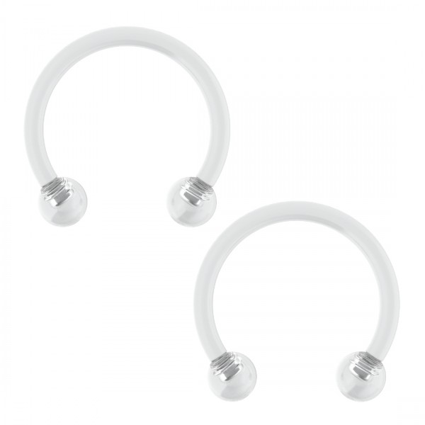 2pc 16g Clear Acrylic Retainer Circular Barbell Horseshoe Conch Auricle Gauge 10mm Piercing Jewelry