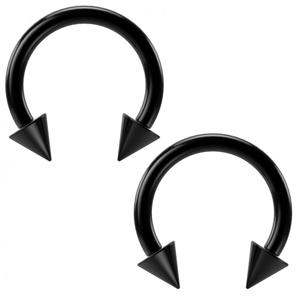 2pc 16g Black Circular Barbell Horseshoe Earring Spike 8mm Orbital Rook Daith Snug Rook Lip Piercing