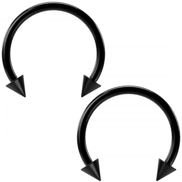 2pc 16g Black Circular Barbell Horseshoe Earrings Spike Daith Helix Tragus Nose Hoop Piercing Gauges