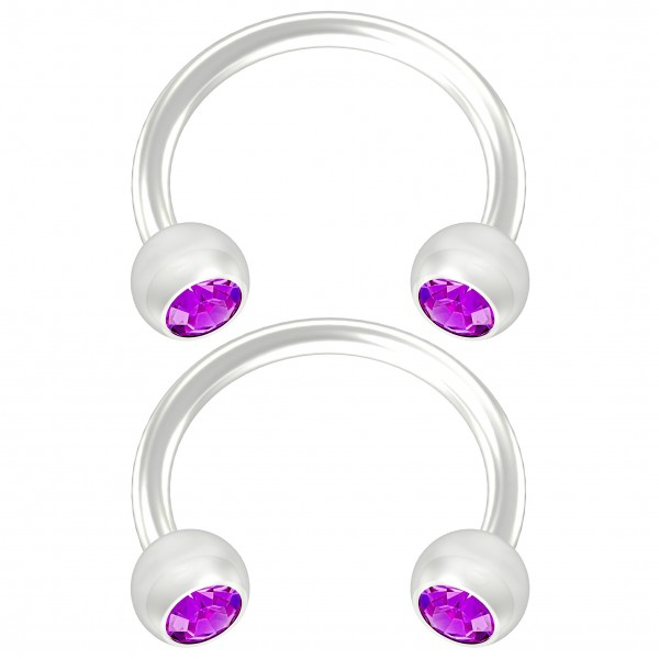 2pc Flexible Bioflex Circular Barbell Horseshoe Earring Bioplast Amethyst Crystal 8mm 5/16