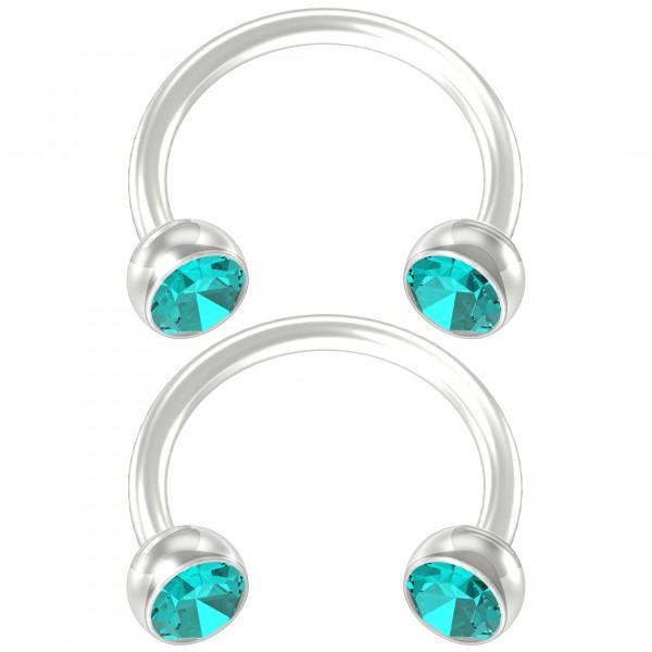 2pc Flexible Bioflex Circular Barbell Horseshoe Earrings Bioplast Aqua Crystal 8mm 5/16
