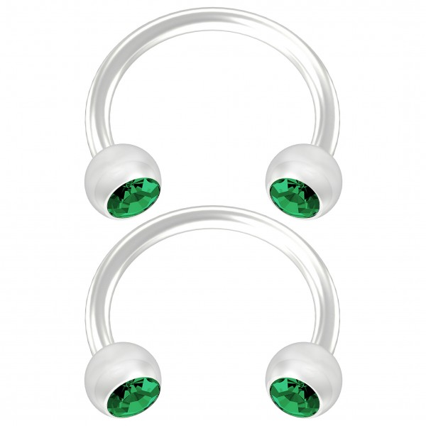 2pc Flexible Bioflex Circular Barbell Horseshoe Earrings Bioplast Blue Crystal 8mm 5/16