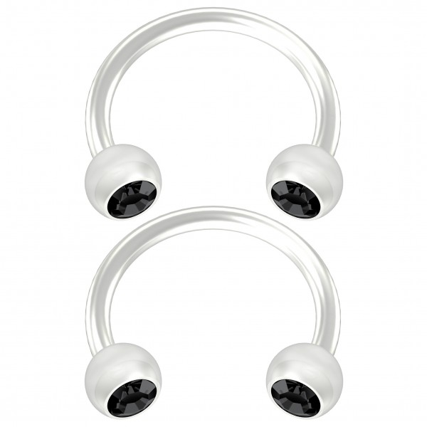 2pc Flexible Bioflex Circular Barbell Horseshoe Earrings Bioplast Jet Crystal 8mm 5/16