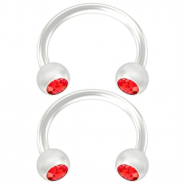 2pc Flexible Bioflex Circular Barbell Horseshoe Earrings Bioplast Red Crystal 8mm 5/16