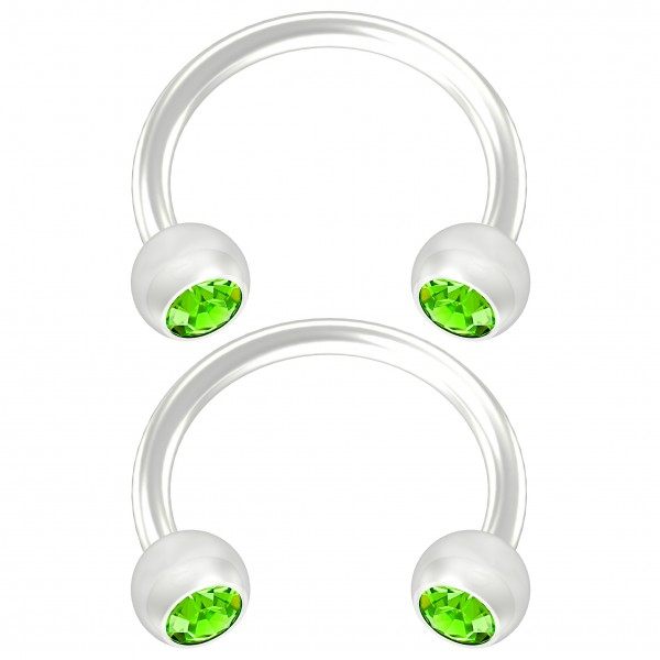 2pc Flexible Bioflex Circular Barbell Horseshoe Earrings Bioplast Peridot Crystal 8mm 5/16