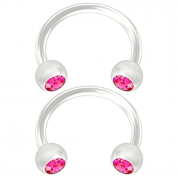 2pc Flexible Bioflex Circular Barbell Horseshoe Earrings Bioplast Rose Crystal 8mm 5/16