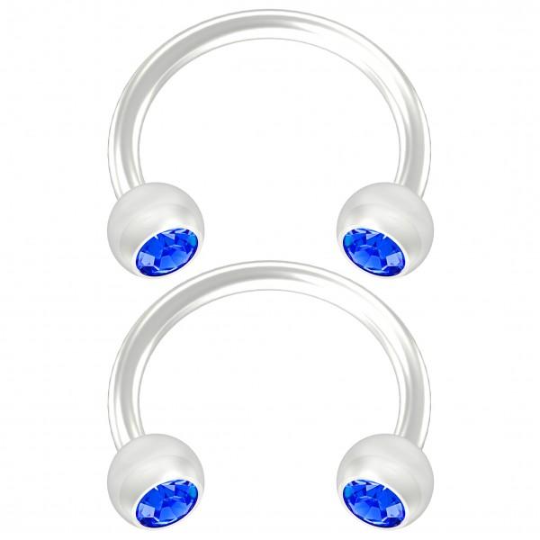 2pc Flexible Bioflex Circular Barbell Horseshoe Earring Bioplast Sapphire Crystal 8mm 5/16