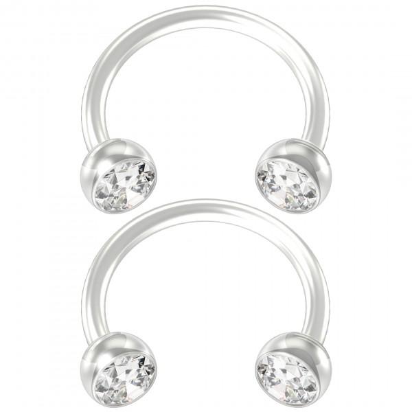 2pc Flexible Bioflex Circular Barbell Horseshoe Earrings Bioplast Tragus Crystal 8mm 5/16
