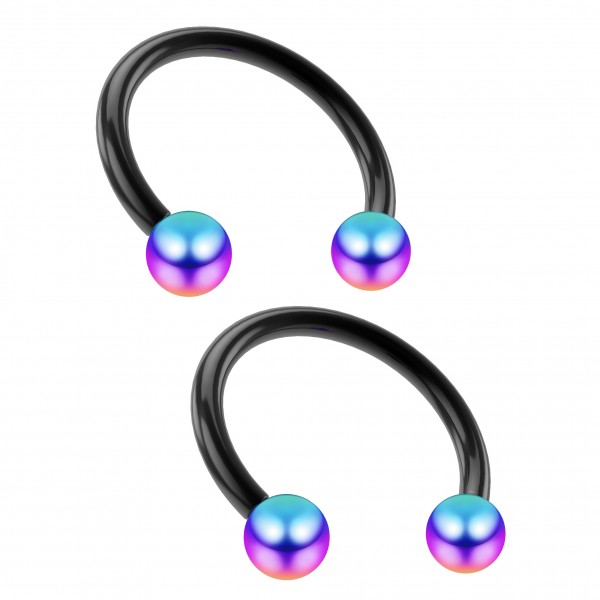 2pcs 16g Black Circular Barbell Horseshoe Earrings 3mm Rainbow Balls Tragus Helix Piercing 3/8 10mm
