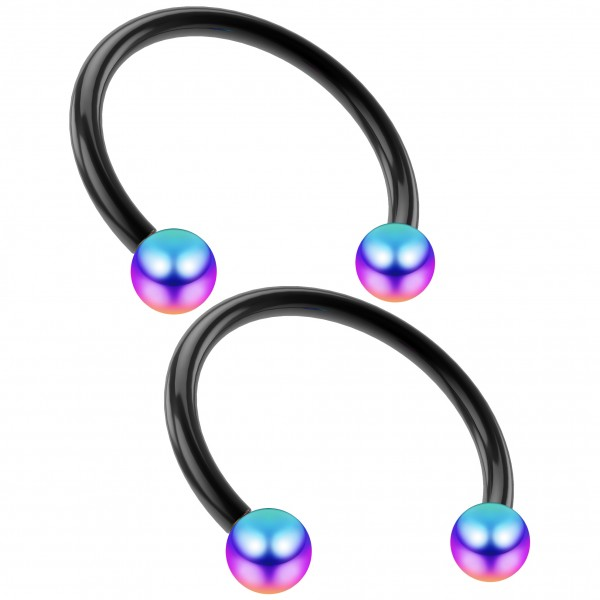 2pcs 16g Black Circular Barbell Horseshoe Earrings Nose Septum Nose Rings Eyebrow 3mm Rainbow Balls