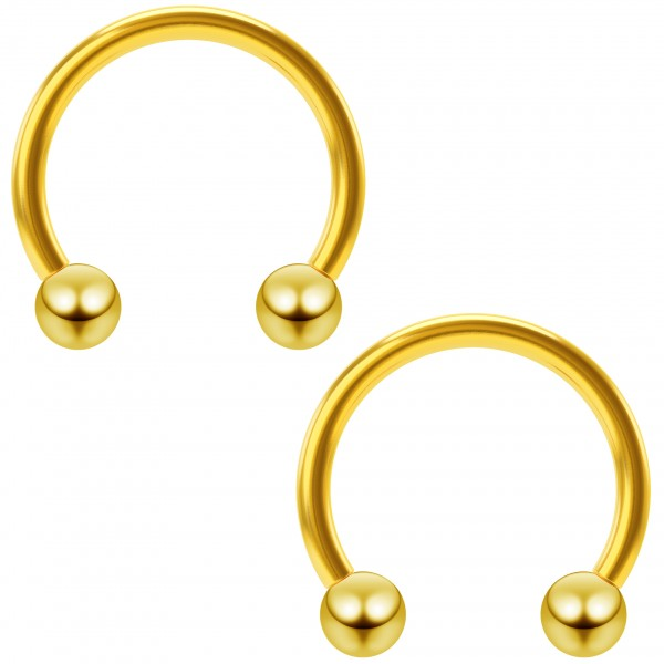 2pc 16g Gold Circular Barbell Cartilage Earring Gauges Hoop Horseshoe Piercing Ring Daith Helix 10mm