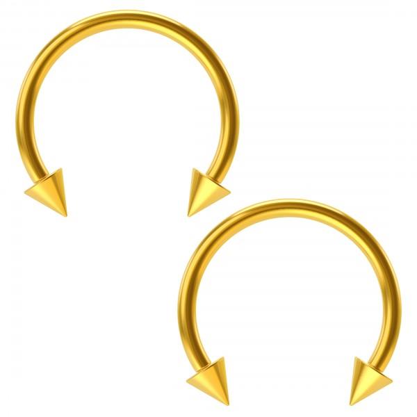 2pcs 16g 12mm Circular Barbell Horseshoe Earrings Gold Spike Septum Eyebrow Daith Tragus Piercing