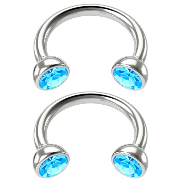 2pc 16g Stainless Steel Circular Barbell Horseshoe crystal Tragus Earrings Aqua Crystal 8mm 5/16