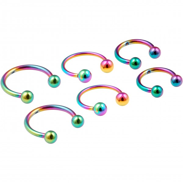 6pc 16g Rainbow Horseshoe Circular Barbell Earring Tragus Piercing Stainless Steel Lot 8mm 10mm 12mm