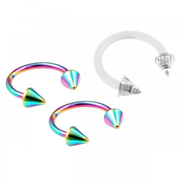 3pc Rainbow Circular Barbell Horseshoe Earring Daith Tragus Helix Piercing 10mm 3/8 + Clear Retainer