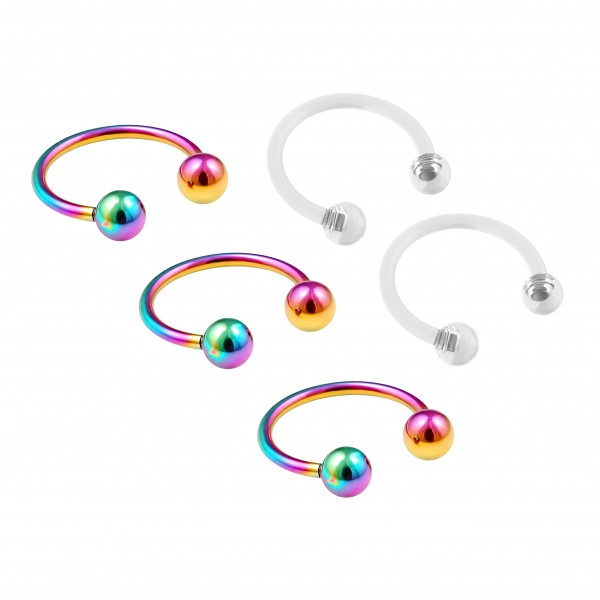 3pc 16g Rainbow Stainless Steel Circular Barbell Horseshoe Earrings 3/8 10mm - 2pc Clear Retainers