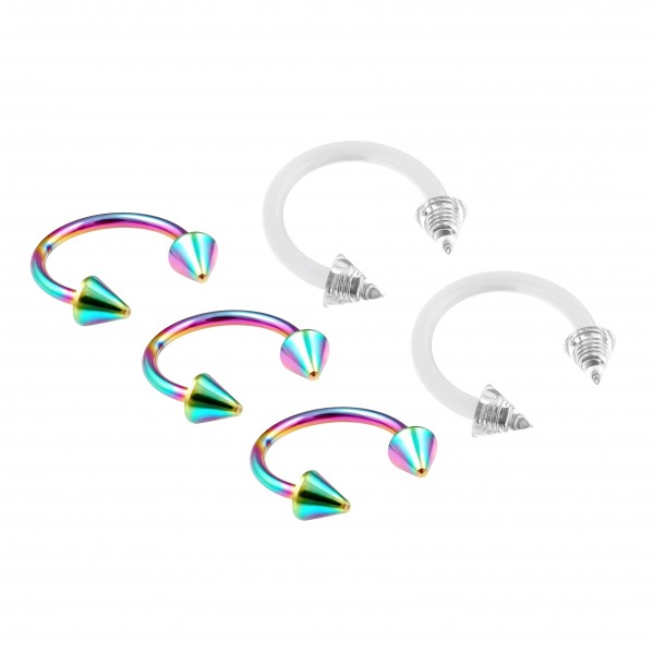 3pc 16g Rainbow Stainless Steel Circular Barbell Horseshoe Earrings 3/8 10mm - 2pc Clear Retainer