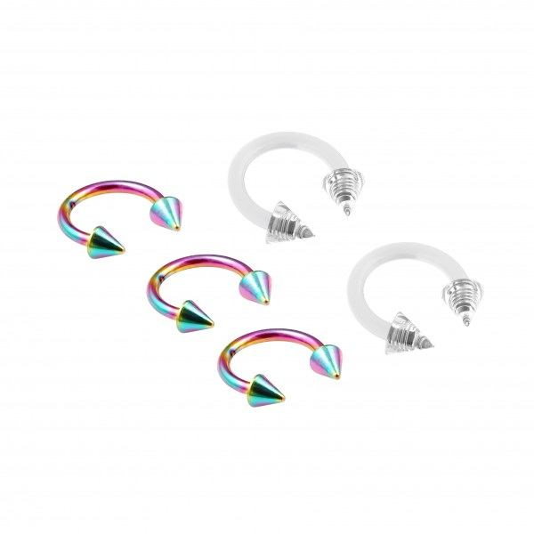 3pc 16g Rainbow Stainless Steel Circular Barbell Horseshoe Earrings 5/16 8mm - 2pc Clear Retainer